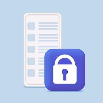 Posta protetta lettere documenti sicurezza e-mail segno di telefono e lucchetto marketing e-mail