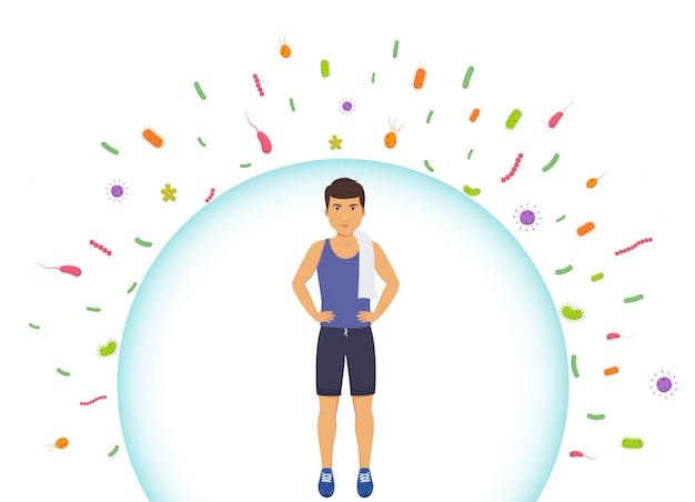 Proteggere il sistema immunitario dai batteri cattivi. l'uomo sportivo riflette i batteri. barriera contro i virus.