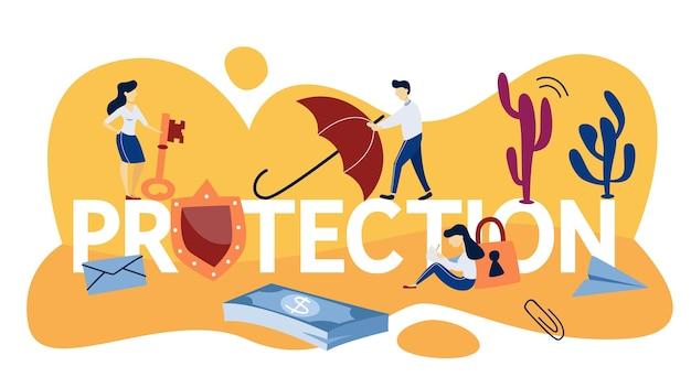 Concetto di protezione. idea di sicurezza e protezione. assicurazione aziendale, sanitaria e finanziaria. illustrazione al tratto