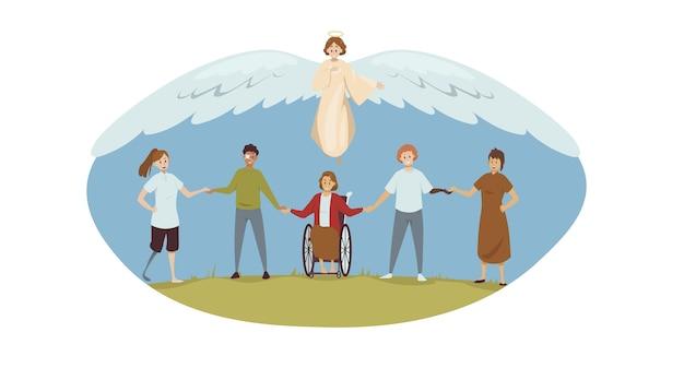 Protezione, illustrazione di disabilità