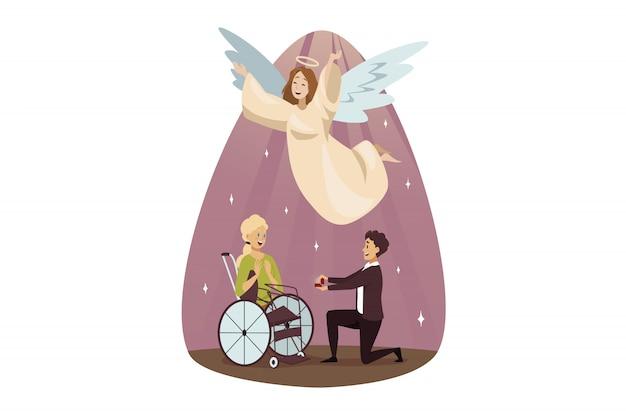 Disabilità di protezione, religione di sostegno, matrimonio, concetto di cristianesimo.
