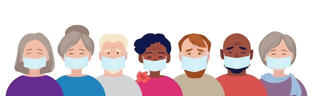 Maschera di protezione. adulti con volti mascherati medici che indossano inquinamento da gas, sicurezza dell'aria sporca. maschera di protezione del concetto di vettore sanitario contro il coronavirus, la donna adulta e l'illustrazione dell'uomo