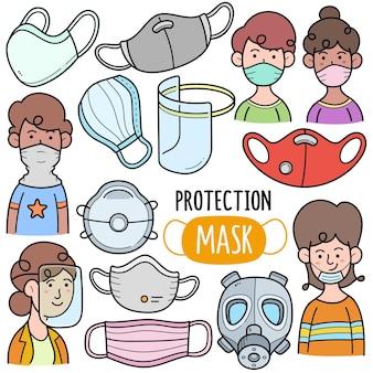 Maschere di protezione elementi grafici vettoriali colorati e illustrazioni scarabocchiate