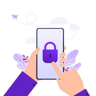 Protezione dei dati mobili e delle informazioni personali, mani che tengono il telefono cellulare con serratura