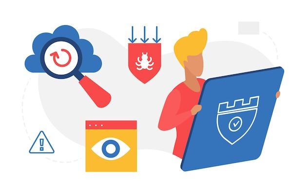 Protezione del concetto di sicurezza dei dati personali uomo in piedi accanto allo scudo antivirus digitale