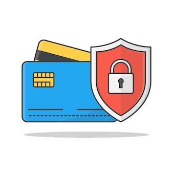 Illustrazione di carte di credito scudo di protezione.