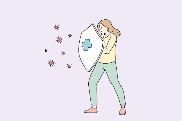Protezione del concetto di infezione da virus. personaggio dei cartoni animati di giovane donna in piedi che tiene in mano uno scudo per proteggere la salute dall'infezione da malattie dei microbi covid-19 illustrazione vettoriale