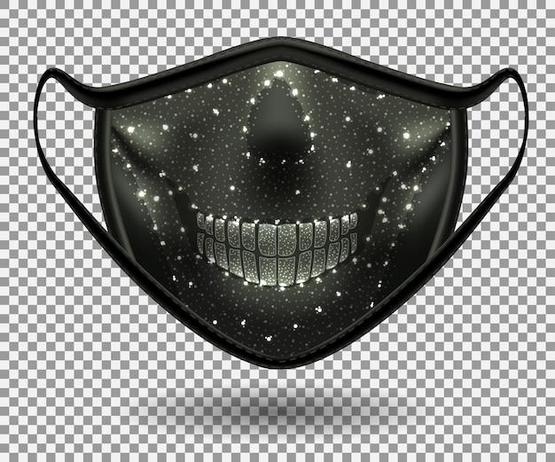 Maschera protettiva nera del covid 19. con stampa teschio. 3d realistico.