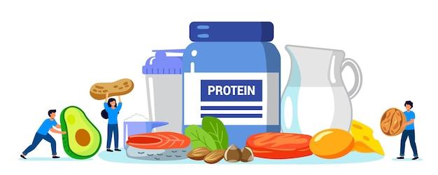 Proteine aminoacidi menu cibo persone fitness e dieta integratori alimentari sportivi bere cocktail