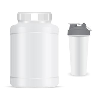Bottiglia di proteine. flacone di polvere nutrizionale per agitatore sportivo.