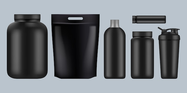Pacchetti di proteine. fitness sport integratore di bevande alimentari sane siero di latte bcaa contenitori nutrizionali bottiglie di plastica per modello palestra.