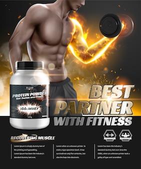 Annunci di proteine in polvere con manubri di sollevamento uomo hunky nell'illustrazione 3d, speciale effetto fuoco incandescente sul braccio