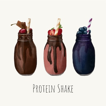 Insieme di set disegnato a mano di bevande salutari di frullato proteico