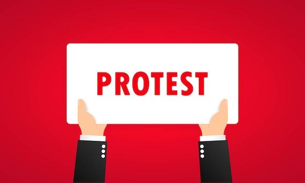 Banner di protesta o rivoluzione, dimostrazione, manifestazione a tema. vettore