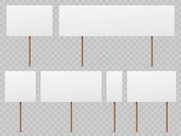Striscioni di protesta. cartello bianco vuoto con bastone di legno. schede di sciopero politico realistico tenendo il modello di foglio elettronico pubblico