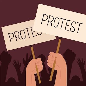 Schede di protesta in mano