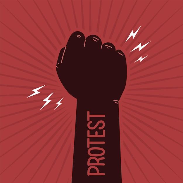 Protesta la mano in alto