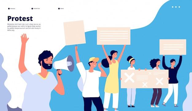 Atterraggio di protesta. diritti umani, persone con cartelli, attivisti che protestano con gli altoparlanti.
