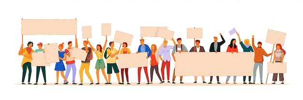 Protesta le persone. manifestando attivista di uomo e donna che dimostra segno in bianco. gente di protesta di vettore che tiene l'illustrazione vuota del cartello. folla di carattere in piedi isolato