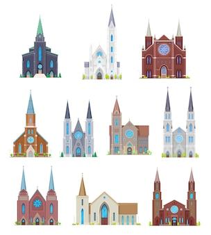 Chiese protestanti, edifici dei templi della comunità cristiana. facciata della cattedrale medievale vettoriale dei cartoni animati, esterno del monastero gotico con vetrate dell'altare e campanile o campanile, croce su guglia