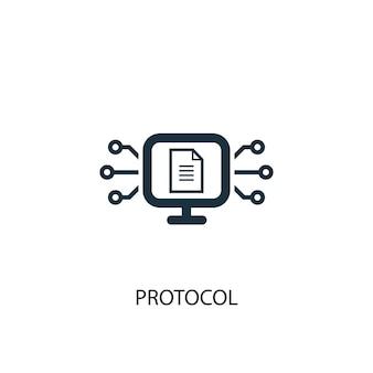 Icona del protocollo. illustrazione semplice dell'elemento. disegno di simbolo del concetto di protocollo. può essere utilizzato per web e mobile.