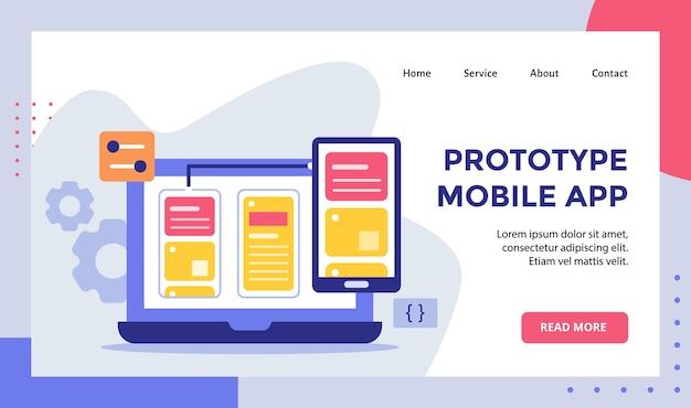 Prototipo wireframe di app mobile sul laptop del monitor