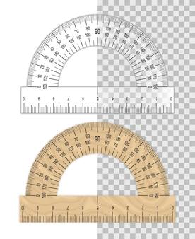 Righello goniometro. goniometri di plastica e legno isolati su bianco
