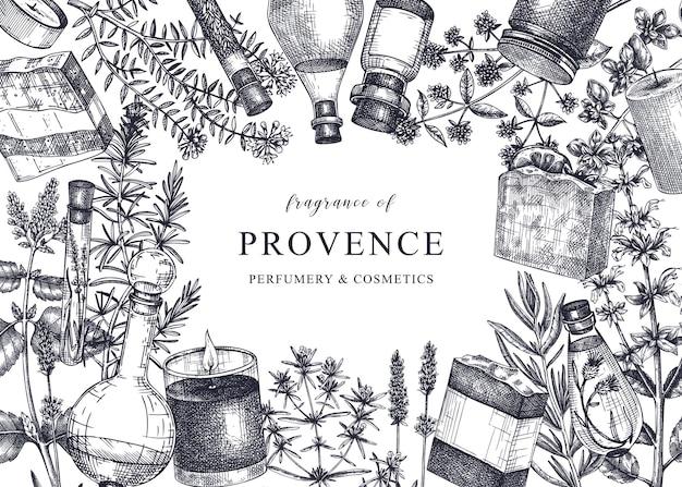 Sfondo di erbe provenzali in stile vintage disegno di piante aromatiche e medicinali abbozzato a mano Vettore Premium