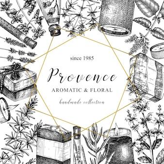 Design di erbe della provenza in stile vintage design di piante aromatiche e medicinali abbozzato a mano