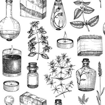 Modello senza cuciture della provenza sfondo di piante aromatiche e medicinali abbozzato a mano