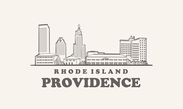 Schizzo disegnato providence skyline rhode island