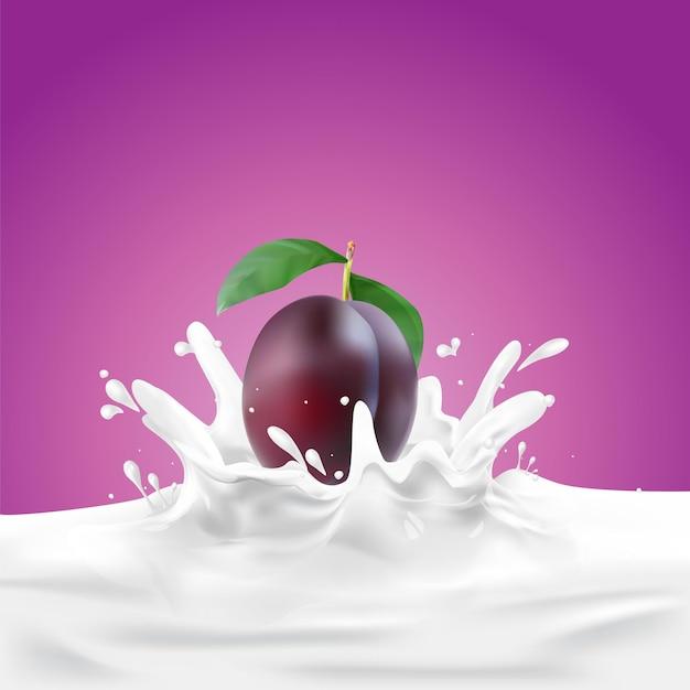 Modello di poster di sfondo splash di prugna e latte o soia
