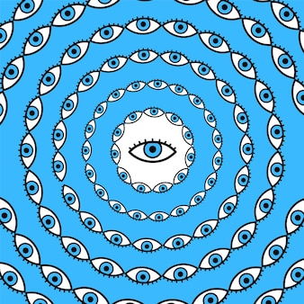 Cerchio di occhi psichedelici. marchio dell'illustrazione del fumetto di vettore disegnato a mano linea doodle. psichedelico, terzo occhio, stampa trippy per t-shirt, poster, concetto di carta