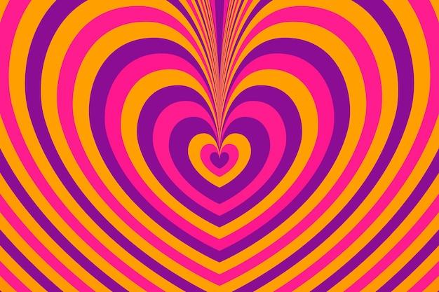 Strati di sfondo groovy psichedelico di cuore colorato
