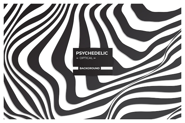 Arte ottica psichedelica, sfondo astratto in bianco e nero con motivo a linee ondulate