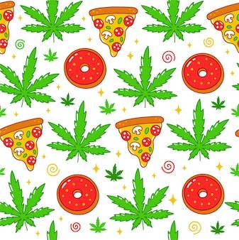 Erbaccia trippy psichedelica, pizza, ciambelle senza cuciture Vettore Premium