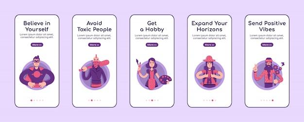Consigli psicologici onboarding modello piatto schermo app mobile