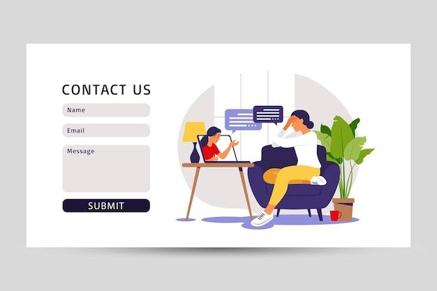 Concetto di consulenza psicologica. contattaci modulo per il web. servizio di assistenza psicologica. illustrazione vettoriale. appartamento.