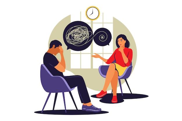 Concetto di consulenza psicologica. servizio di assistenza psicologica. illustrazione vettoriale. appartamento.