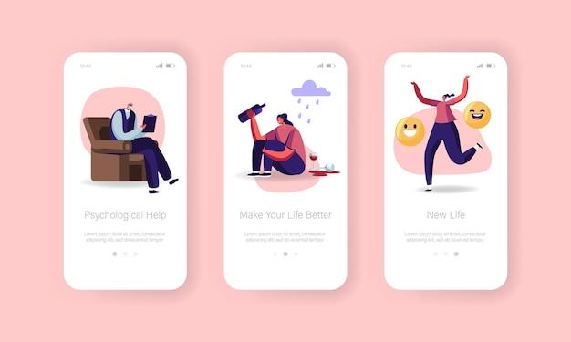 Modello di schermo a bordo della pagina dell'app mobile di aiuto psicologico