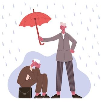 Concetto di supporto psicologico. terapeuta o amico che protegge il paziente dalla depressione sotto l'illustrazione vettoriale dell'ombrello. metafora del supporto alla psicoterapia