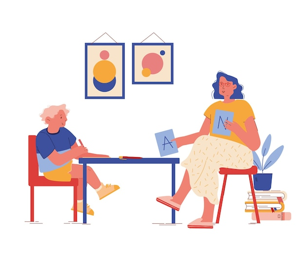 Personaggio psicologo visualizza le carte abc durante la sessione di terapia con bambino con disturbo di autismo. processo di educazione e apprendimento, comunicazione paziente e terapista. gente del fumetto