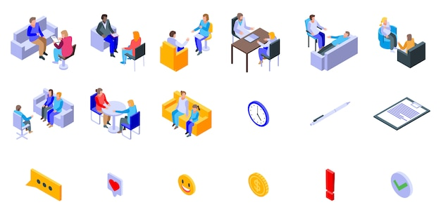 Set di icone di psicologo, stile isometrico