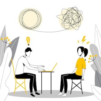 Psicologo e paziente in seduta di terapia. trattamento di dipendenze da stress e problemi mentali