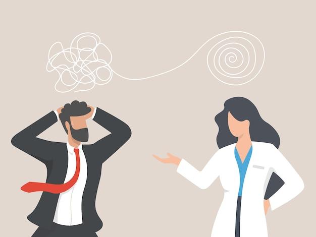 Psicologo donna e uomo d'affari paziente nella sessione di terapia. trattamento dello stress, problemi mentali. concetto di consulenza psicoterapeutica.