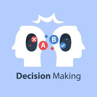 Psicologia della scelta, processo decisionale, pensiero critico, concetto di comunicazione, intelligenza emotiva, illustrazione piatta