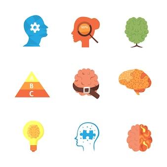 Psicologia set di icone vettoriali eps10