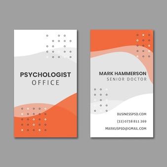 Modello di biglietto da visita verticale dell'ufficio di psicologia