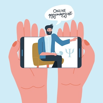Concetto online di psicologia per mani che tengono il telefono con lo psicologo maschio sullo smartphone dello schermo con v...