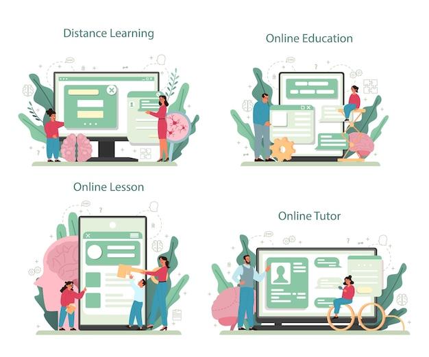 Servizio online di psicologia o set di piattaforme. studio della salute mentale ed emotiva. studio della mente e del comportamento umano. apprendimento online, tutor, educazione, lezione.